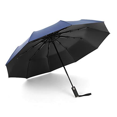 Gimars ombrello automatico antivento ombrello pieghevole 10 aste rinforzate impermeabile+rivestimento anti uv apertura chiusura automatica a pulsante, ombrello portatile per uomo donne blu