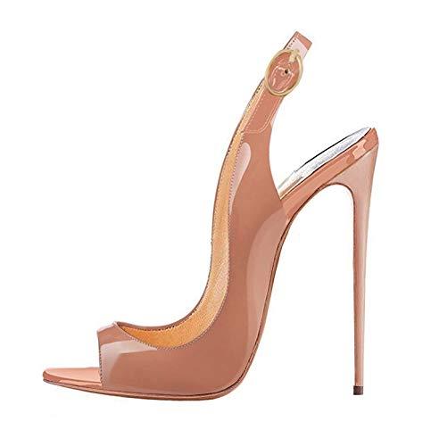 EDEFS Peep Toe Femme Sandales,120mm Aiguille,Bride Cheville Chaussures de Soirée Mariage,Beige,T.42