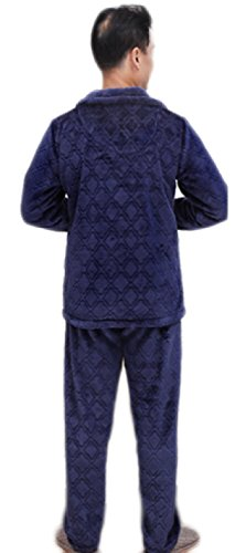 Mens Caldo Morbido Pigiama Leisure Blue Pajama Set Luxury Flannel Manica Lunga Pigiama Top E Pantaloni Moda Classici Pigiama Set Blue
