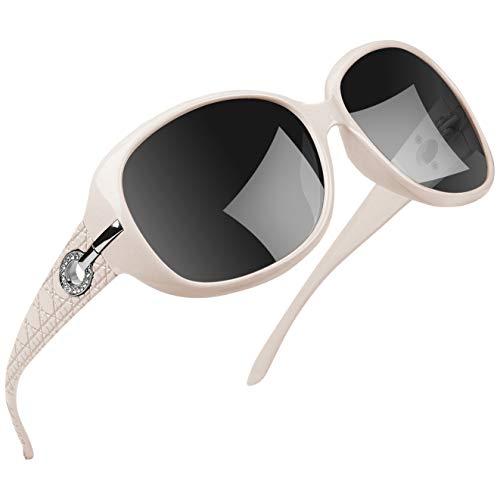Joopin Mode übergroße Sonnenbrille für Frauen, UV400 Big Frame Damen Sonnenbrille Polarisierte Damen Sonnenbrille U9045 (weiß)