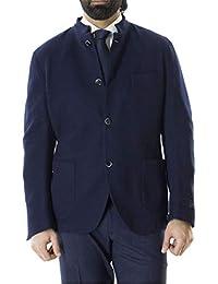TOMBOLINI Giacca Invernale da Uomo Collo Coreano in Lana vestibilità Slim  Fit Tinta Unita Blu Notte 64585836fab
