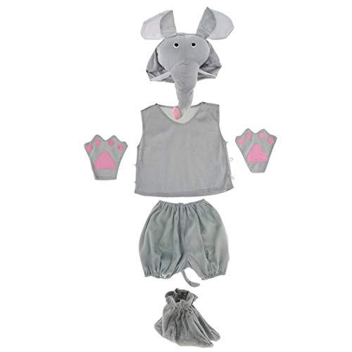SeaStart 1 Juego Traje de Disfraz de Elefante Niños Unisexo Entretenimiento Gorra Camisa Pantalones Cortos Guantes de Fiesta Lindo Espectáculo