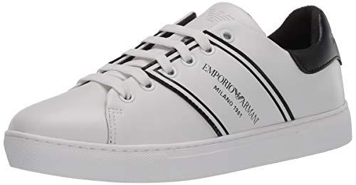 Emporio Armani Damen LACE UP Sneaker Turnschuh, weiß/schwarz, 37 EU