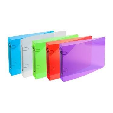 Classeur à fiches bristol CRYSTAL, 2 anneaux 25mm, polypro, coloris