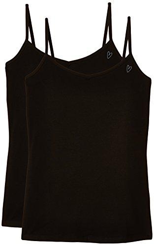 Intimuse Damen Unterhemd, 2er Pack Schwarz (Schwarz)