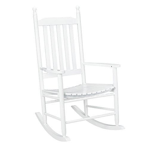 [casa.pro] Schaukelstuhl Weiß aus Massiv-Holz – Hochwertiger Relax-Stuhl mit Armlehne zur Entspannung oder als Still-Stuhl – Schwing-Sessel Schaukel-Sessel für Wohnzimmer Küche Balkon Garten