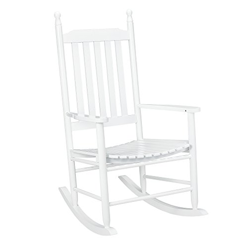 [casa.pro] Mecedora blanca madera maciza - Silla relax