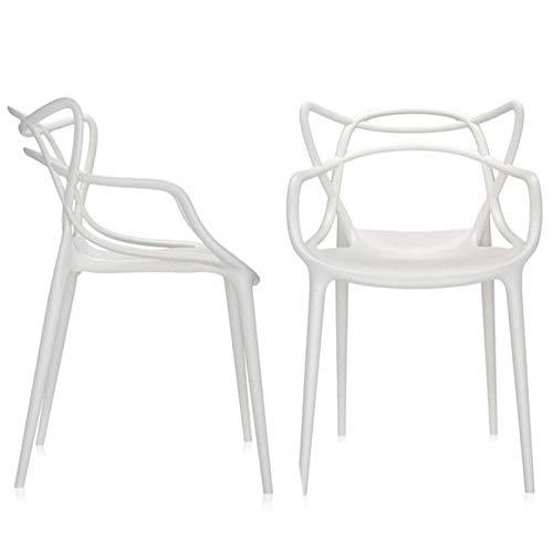 chairs4you - Set di 2 sedie Bianche ispirate Master Salotto, Sala da  Pranzo, Cucina, Ufficio, Ristorante, Bar, terrazza, Giardino,  Interno/Esterno