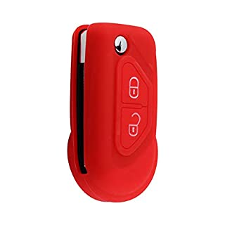 ASARAH Citroen Schlüsselhülle aus Premium Silikon, Schutzhülle für Autoschlüssel Cover für Schlüssel-Typ 2BKB-b - Rot