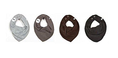 Fifi–Bavoir/foulard triangulaire pour bébé fille–Lot de 4–Gris Pippi