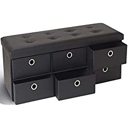 IDMarket - Banc coffre rangement noir 6 tiroirs 100X38X38 cm PVC