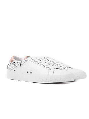 Ash étourdi Formateur Orné De Cuir Blanc White Leather