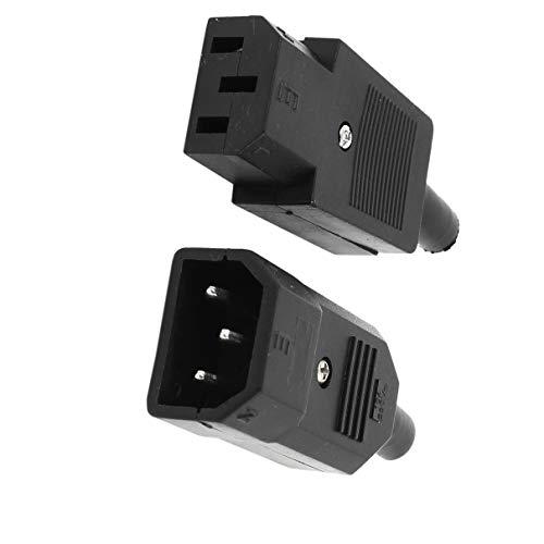 Aexit Pair Black Rewirable Design IEC 320 C14 Macho