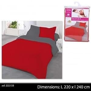 parure de lit compl te 2 personnes r versible bicolore rouge gris polyester 220 x 240 cm. Black Bedroom Furniture Sets. Home Design Ideas