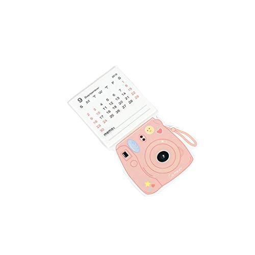 2019 Kreative Kamera Mini Magnet Kalender Wandkalender Zeitplan Plan Notebook Tisch Schreibtisch Kalender Bürobedarf (Color : Pink)