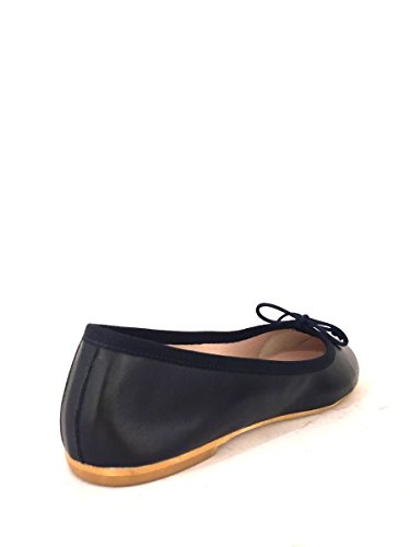 Ballerine in pelle VR532 tacco basso fiocco zeta shoes MainApps Blu
