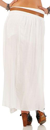 malito jupe avec ceinture été Stretch Maxi A-ligne 17126 Femme Taille Unique Blanc