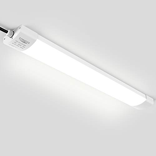 LED Feuchtraumleuchte Deckenleuchte 60cm 18W für Garage Keller Bad Werkstatt Feuchtraum Warenhaus, Tonffi LED Wannenleuchte Feuchtraumlampe Röhre, Wasserdicht IP65 Neutralweiß 4000K-4500K -