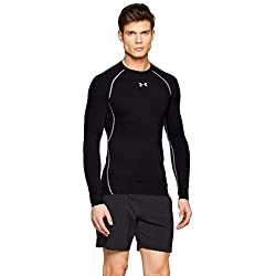 Under Armour UA HG Armour LS Camiseta de Manga Larga, Hombre, Negro (Black/Steel 001), M