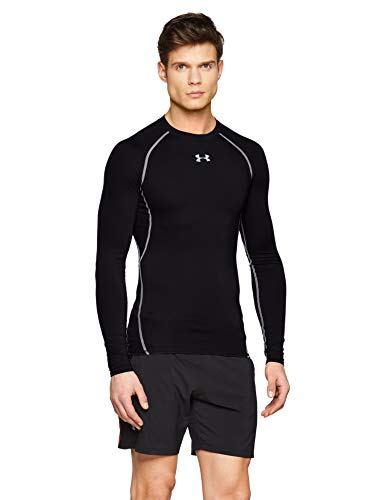 Under Armour UA HG Armour LS, Maglia A Maniche Lunghe Uomo, Nero (Black/Steel 001), M