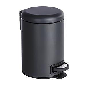 Wenko eacute;man - Pattumiera Cosmétique a pedale, acciaio inossidabile, Acciaio INOX, nero, 17x17x27 cm