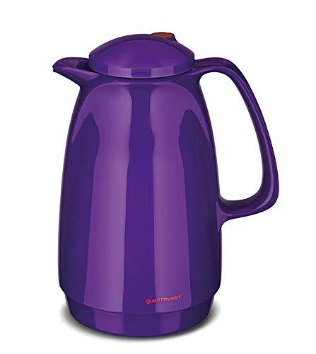 Isolierkanne 220 1 Liter 1 Liter | Doppelwandige Vakuumisolierung | Zweifunktions-Drehverschluss | BPA Frei- gesundes trinken | Made in Germany | Warm + Kalthaltung | Glaseinsatz (purple peacock)