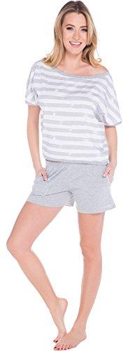 Italian Fashion IF Pyjama Femme Zina 0227 Melange/Blanc