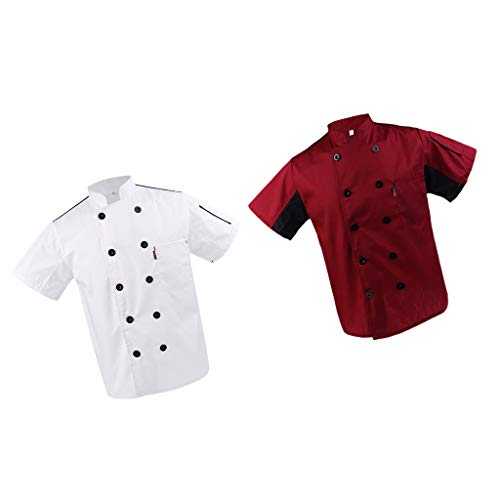 P Prettyia 2x Unisex Atmungsaktive Kochjacke Bäckerjacke mit Knöpfe Koch Arbeitsjacke Kochhemd Küche Arbeitskleidung XL