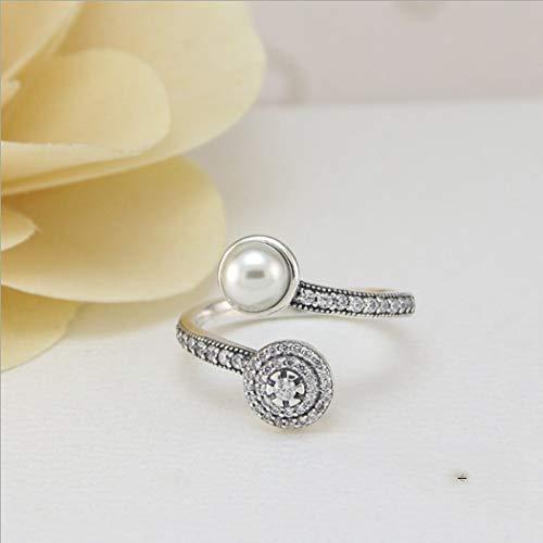 e1678d8a8f32 YOYOYAYA Anillo De Plata Esterlina 925 Joyería Femenina Imitación Perla  Diamante Sintético Exquisito Dating Sencillez Niña