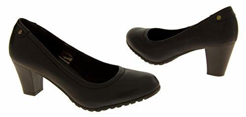 Coconel 216718 Faux Cuir Bloc Talon Chaussures Formelles Femmes Noir