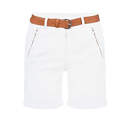 Damen Chino Bermuda Shorts, kurze Hose inkl. Gürtel ( 488 ) Weiß