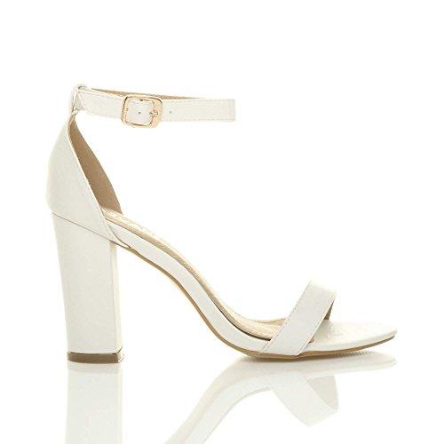 Donna tacco alto blocco fibbia scarpe punta aperta sandali con cinturino taglia Bianco opaco