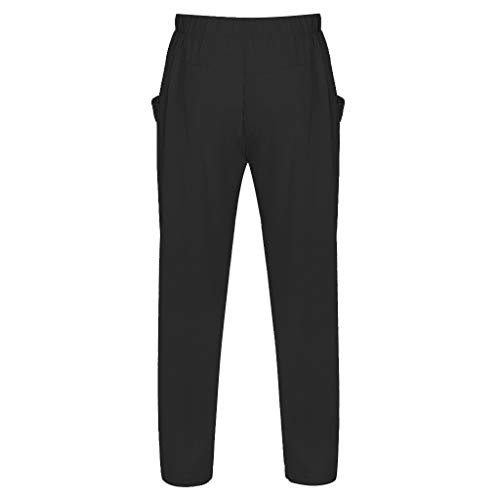 CAOQAO Pantalone Uomo Pantaloncini Jeans/Estate Moda Uomo Semplice Tinta Unita Colore Medio Coulisse Larghezza di Banda Pantaloni Larghi Comodi Traspiranti in Cotone/Nero/M-3XL