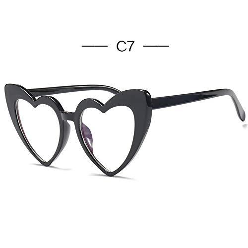 BUYAOAQ Liebe Sonnenbrille Frauen Katze Augen Sonnenbrille Damen Retro 90Er Rosa Brille Rote Flash-Brille, G