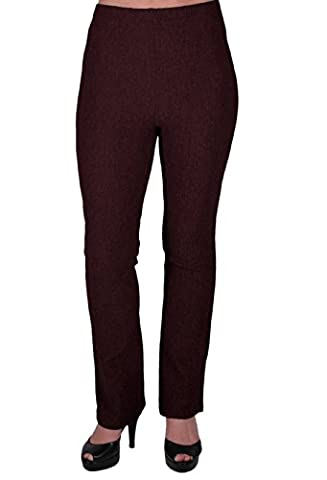 EyeCatch - Womens Pull On Ribbed Stretch Bootleg Elasticated Trousers Ladies Pants Regular Leg Brown Size 18