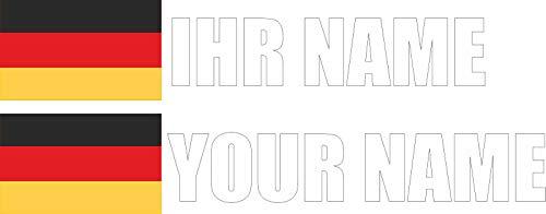 INDIGOS - Aufkleber - Deutschland - Schrift weiß - Folie - Auto, Ordner, Motorrad, Fahrrad, Wand, Tür, Kühlschrank usw - 90x18 mm - Flagge Name individuell personalisiert