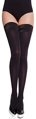 Merry Style Damen blickdichte halterlose Strümpfe MS 632 60 DEN (Schwarz, M/L (40-44))