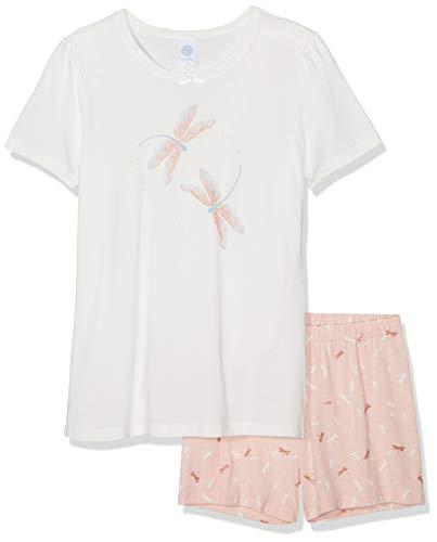 Sanetta Mädchen Pyjama Short Zweiteiliger Schlafanzug, Beige (Broken White 1427), 152 - Mädchen Lacrosse Shorts