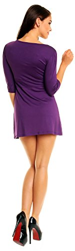 Zeta Ville Damen Shirt-Tunika Top unterhalb der Taille in Falten gelegt 940z Lila