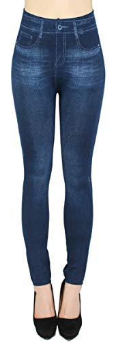 dy_mode Damen Thermo Leggings Thermohose mit Innenfutter - WL027 (40/42 - L/XL, WL082-Blau)