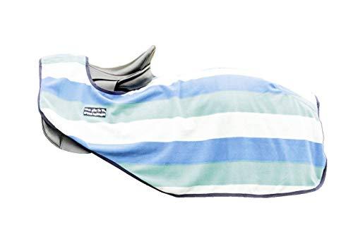HKM Nieren Abschwitzdecke -Fashion Stripes- mit Klett, Aqua/Sky Blue/woll weiß, 115