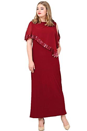 0398f6c5746dc Angelino Butik Büyük Beden Payetli Uzun Bordo Abiye Elbise KL8022U (60-62)  Ürün