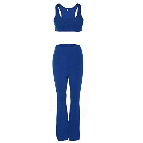 UFACE Damen Weste Frauen Solid Color Wrap Chest Breites Bein Hosen Zweiteilige Bluse T-Shirt Tops (XL, Blau)