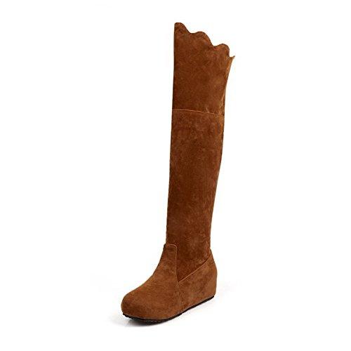 AllhqFashion Damen Mittler Absatz Rein Ziehen auf Mattglasbirne Stiefel, Gelb, 40