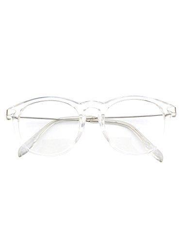 CN88 Klassische Nerdbrille rund Keyhole 40er 50er Jahre Pantobrille Vintage Look clear lens,Transparent