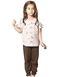 Night Suit for Toddlers - Peach and Brown Color - Cotton Material - Printed Night Suit - Half Sleeves with Cold Shoulder - Top and Pyjama Set - Available for 2/3/4/5/6 Year old Girls - Casual wear for Kids