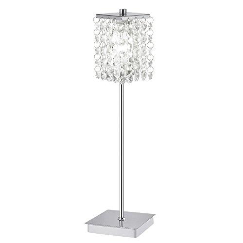 - Chrom-kristall-tisch-lampe (Eglo Tischleuchte Modell Pyton / in Stahl chromfarben / Kristall / HV 1 x G9 40 W / inklusiv Leuchtmittel / Ein Ausschalter im Kabel / Höhe 36.0 cm / Sockel 9.5 x 9.5 cm / Kopf 6.5 x 6.5 cm 85333 von EGLO)