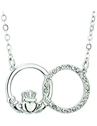e670adc55dc1c4 Rhodium Plated Claddagh Necklace With Green Crystal Stone, Presented In Red Christmas  Bauble