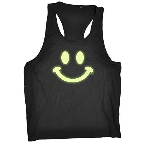 ste - Smile Face Glow in The Dark - Open Muscle Tank Top Singlet Gr. S/M, Schwarz ()