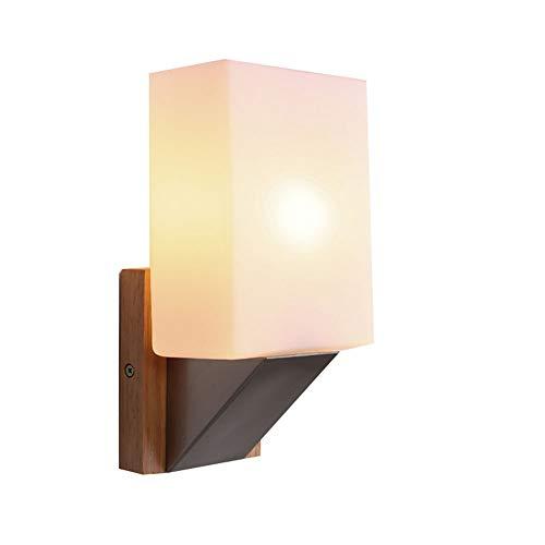 Mit Schalter Aus Massivem Holz Wandleuchte Einfache Moderne Schlafzimmer Nacht Glas Wandleuchte Hardware Beschichtung Rostschutz Rostschutz -